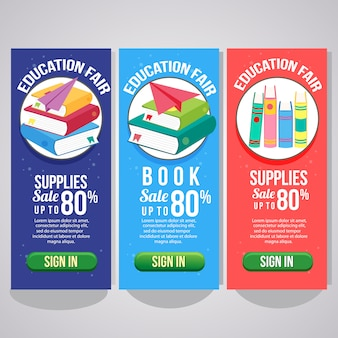 Three school holiday vertical banner website books flat style