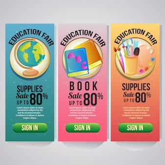 Three school holiday vertical banner website school stock