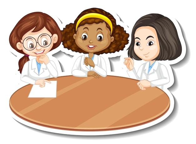 Three scientist girls cartoon character