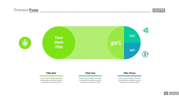 Three sectors pie chart slide template