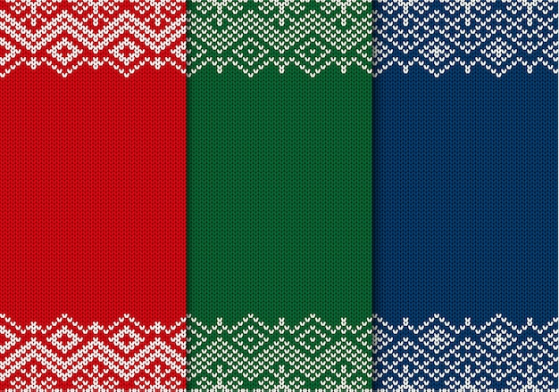 Three semless knitted christmas ornaments. red, green and blue geometric background.