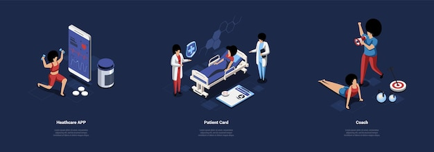 Three separate compositions sport and healthcare illustration cartoon 3d style