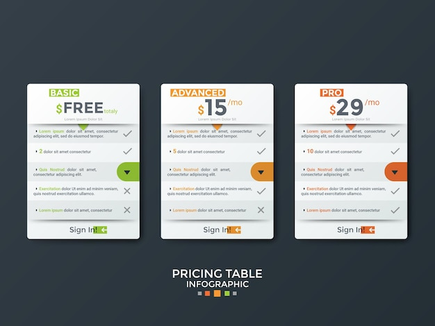 Three separate paper white rectangular tables or cards with place for text inside. concept of 3 pricing plans with list of features to choose. modern clean design template. vector illustration.