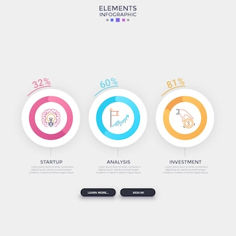 Three separate round elements with linear pictograms inside and percentage indication placed into horizontal row. concept of 3 indicators to compare. infographic design template. vector illustration.