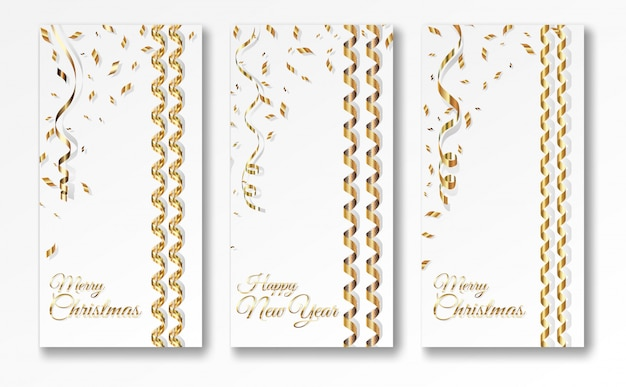 Three serpentine christmas banner templates