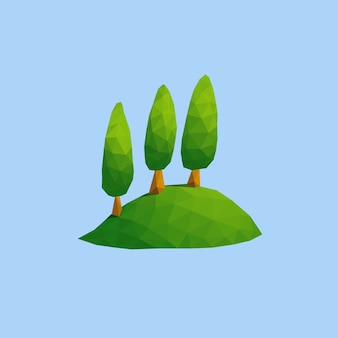 Three set columnar upright oval tree on green hill in low poly art style