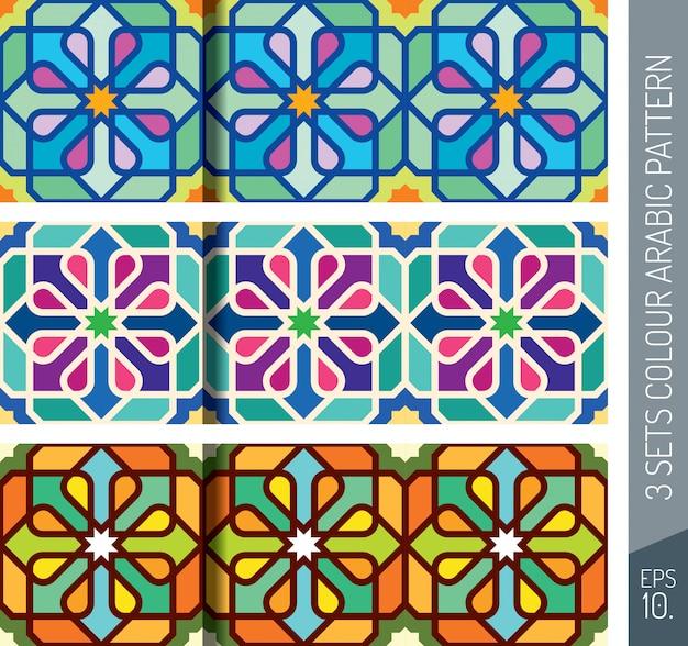 Three sets colorful geometric arabic pattern ornament