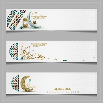 Three sets ramadan kareem greeting islamic pattern background vector design with arabic calligraphy