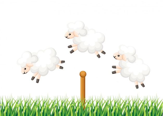 フェンスの睡眠時間を飛び越えて3匹の羊は、草のイラストwebサイトページとモバイルアプリで白い背景に不眠症から羊を数えます