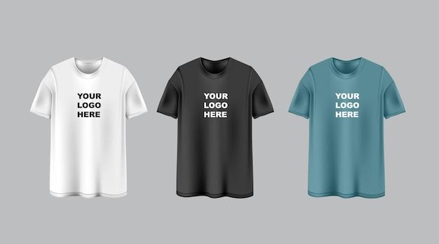 템플릿에 로고가 있는 3개의 짧은 소매 흰색, 검정 및 진한 파란색 티셔츠