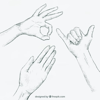 Three sign language gestures