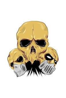 3 두개골과 마스크 벡터 일러스트 레이 션