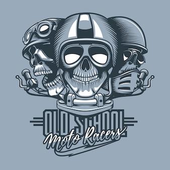 Three skulls riders in helmets and text