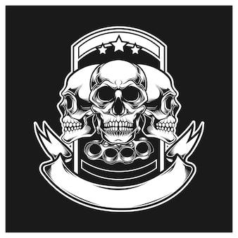 Three skulls with guns and ribbons