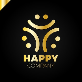 三人の笑顔の人のロゴ - ハッピーコミュニティのアイコン