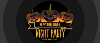 Three smiling halloween pumpkin party banner design