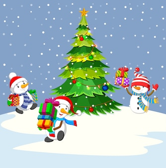Три снеговика с подарком и зимний фон