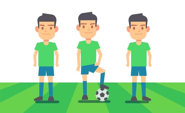 Три футболиста на зеленом поле