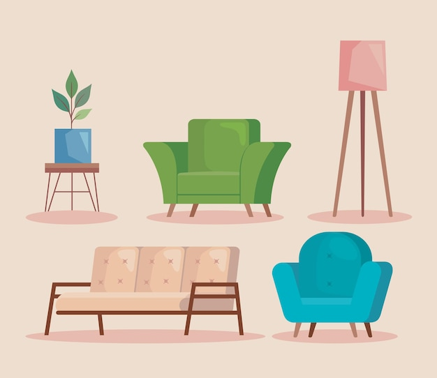 3つのソファと家具
