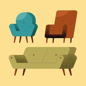 Three sofas furniture set icons