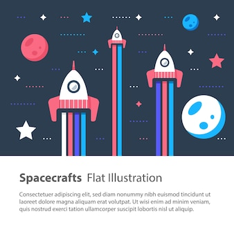 Three spacecrafts flying in space among stars and planets, space race