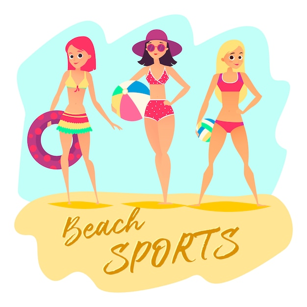 Three sport girls on beach. summer sports