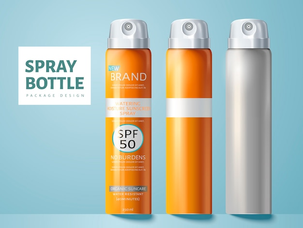 Three spray bottles, two blank and one for sunscreen spray package  use, isolated light blue background