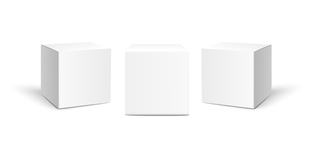 Three square paper boxes isolated on white background.