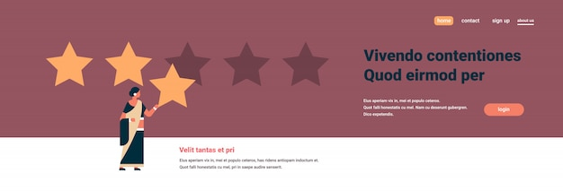 Three star rating indian woman giving feedback banner