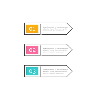 Three steps color buttons with numbers and text in outline frame right arrows infographic design