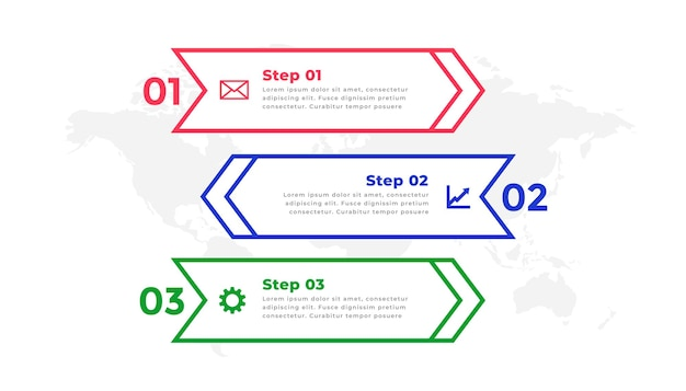 Three steps directional line infographic template