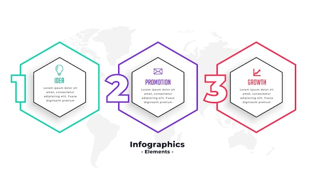 Three steps hexagonal shape infographic template design