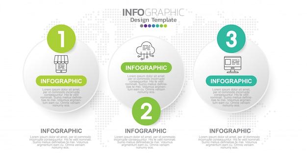 Three steps infographics design template.