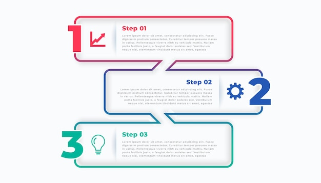 Three steps line stylish infographic template