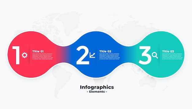 Three steps modern colorful infographic template