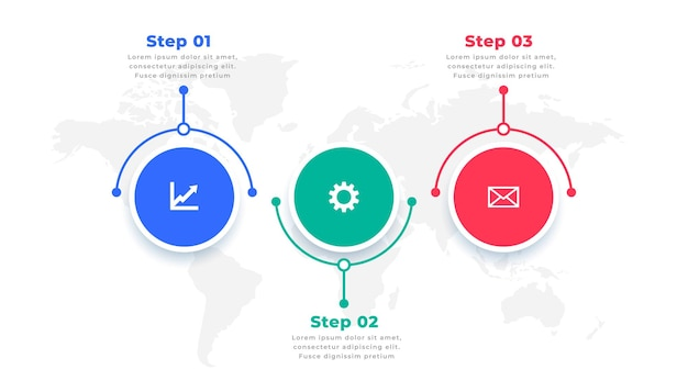 Three steps modern infographic presentation template