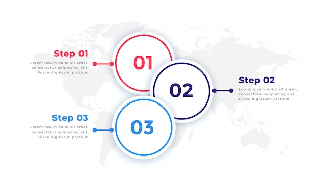 3 단계 타임 라인 비즈니스 infographic 요소