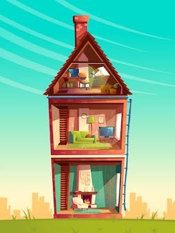 Three-story house interior cross section, cartoon multistorey private building with telescope