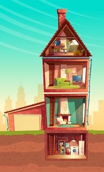 Трехэтажный интерьер дома в поперечном разрезе с подвалом и гаражом.