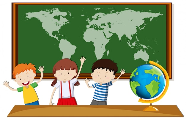 Трое студентов изучают географию в классе