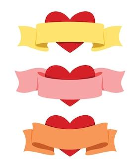 バレンタインデコレーション用のリボンとハートの3つのスタイル。