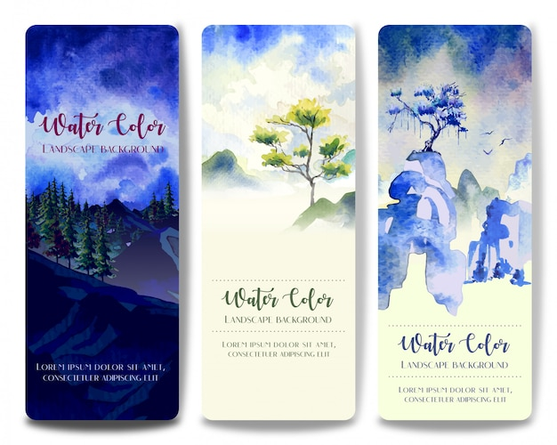 Three style watercolor landscape paintings, tree and hill