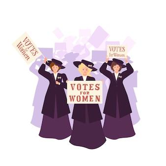 Три суфражистки в пальто и шляпе возглавляют толпу с надписью «права женщин». лента белая, зеленая и пурпурная. солидарность и сила. плоская иллюстрация.