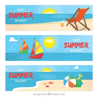 Three summer banners in flat design
