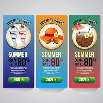 Three summer holiday vertical banner template vector illustration