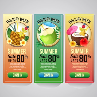 Three summer holiday vertical banner template website cocktail drink vector illustration