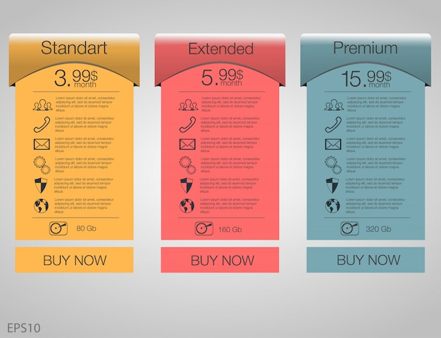 Three tariffs banners. web pricing table.   for web app. set tariffs. plan for website in flat .