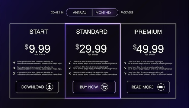 Three tariffs interface for the site vector banner