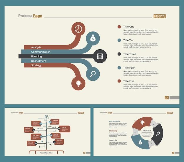 Set di tre modelli di diapositiva di teamwork