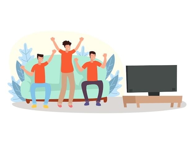 Трое подростков очень счастливы, когда смотрят телевизор